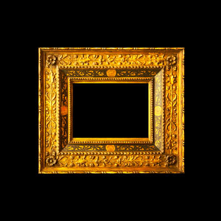 Picture wooden frame isolated on black background