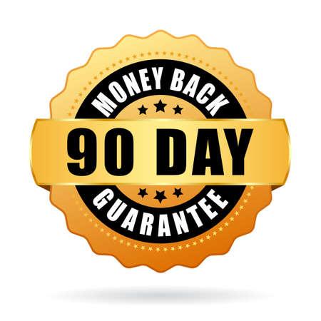 90 day money back guarantee gold icon Stock Illustratie