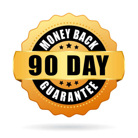 90 day money back guarantee gold icon 矢量图像