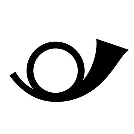 Postal round horn vector icon Illustration