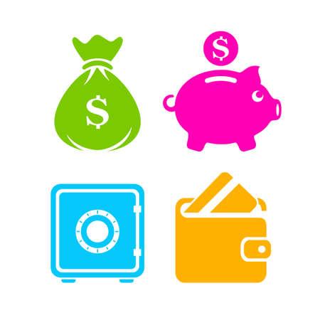 Colorful money vector icon set