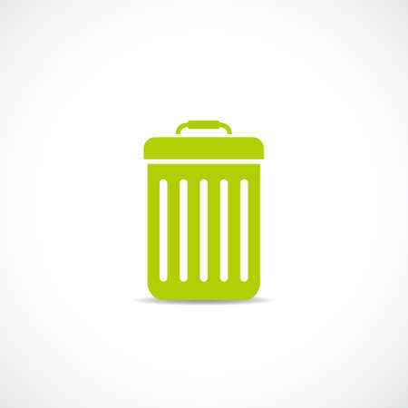 Waste bucket vector icon