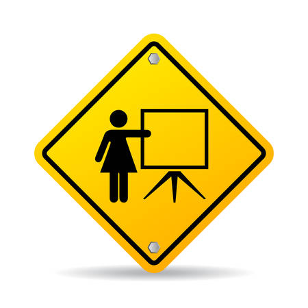Teacher and flip chart educational vector sign