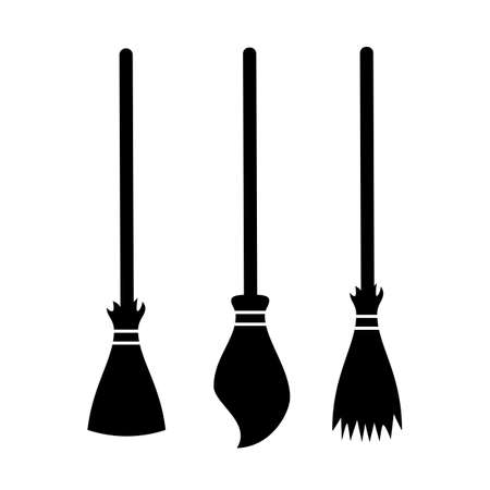 Broom silhouette vector icon set