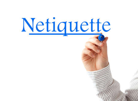 Hand writing Netiquette word