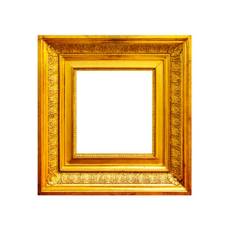 Square thick golden frame isolated on white background