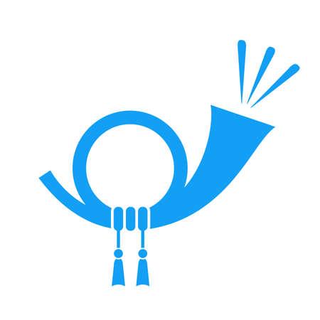 Horn blue vector icon