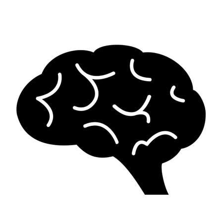 Human brain black silhouette icon