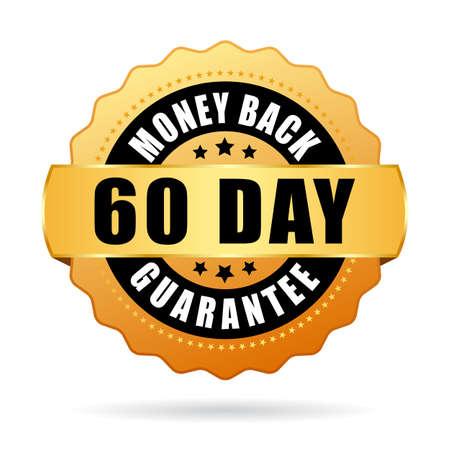 60 day money back guarantee vector icon