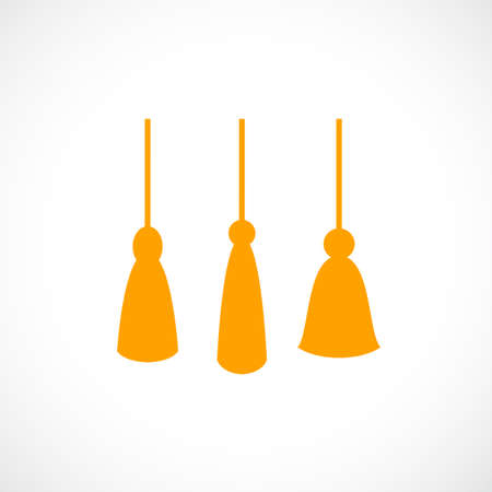 Yellow hanging tassel vector icon set