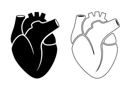 Black silhouette icon of human heart