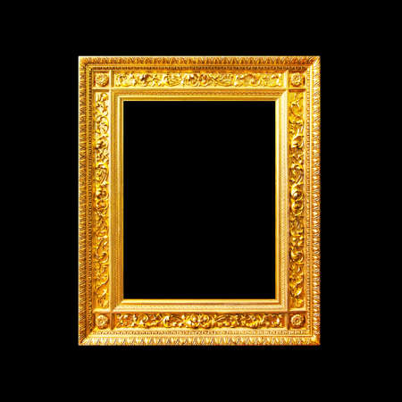 Splendid golden portrait wood frame isolated on black background