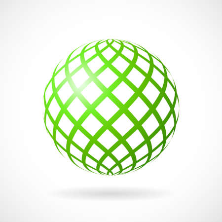 Green sphere vector icon Illustration