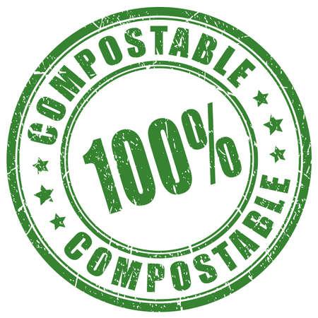 Sello de vector de material compostable Ilustración de vector