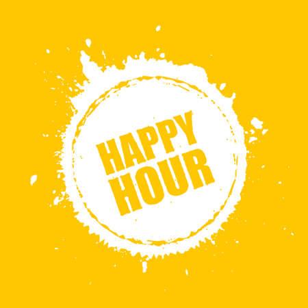 Happy hour yellow vector blot