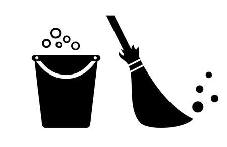 Bucket and broom cleaning vector icon