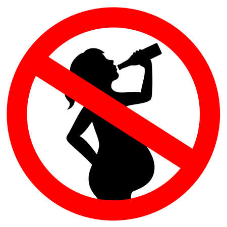 No drinking alcohol while pregnant vector sign Иллюстрация