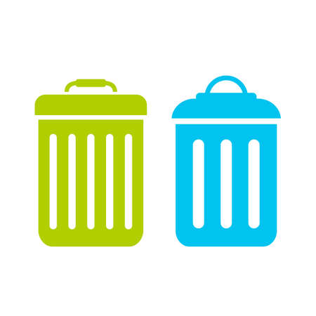 Garbage trash can vector flat icon Çizim