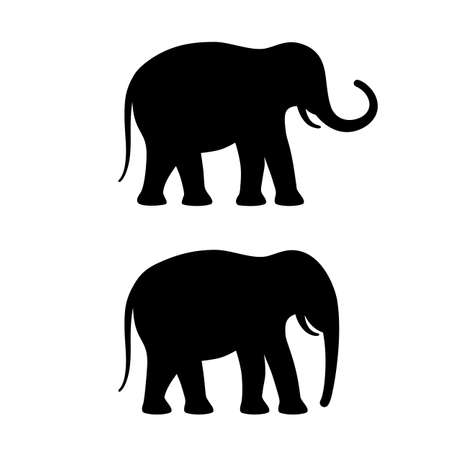 Elephant vector silhouette icon set Çizim
