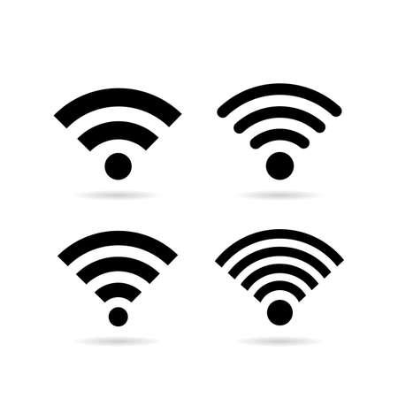 Wireless network vector icon set Illustration