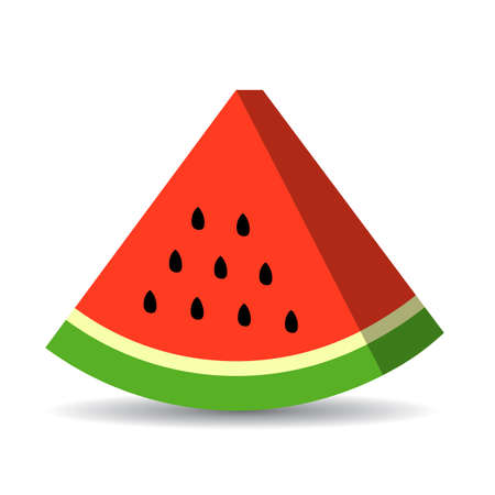 Triangle watermelon piece vector icon Illustration