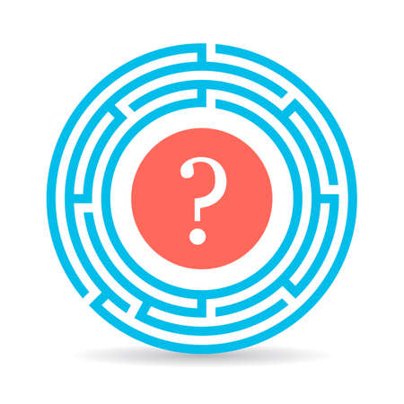 Circle labyrinth icon with question mark