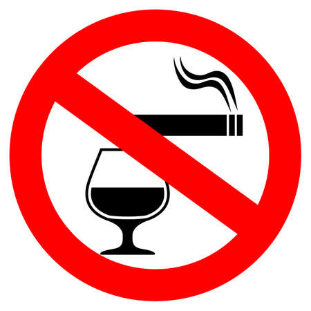 No smoking and alcohol drinking vector sign Illustration