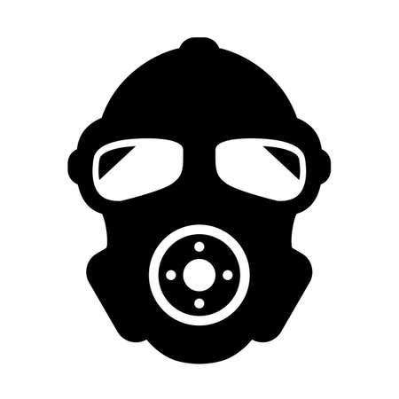 Gas mask black silhouette vector icon Çizim