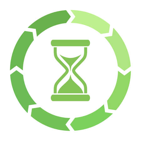 Hourglass loader green vector icon