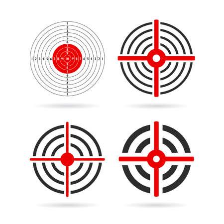 Goal target vector icon set