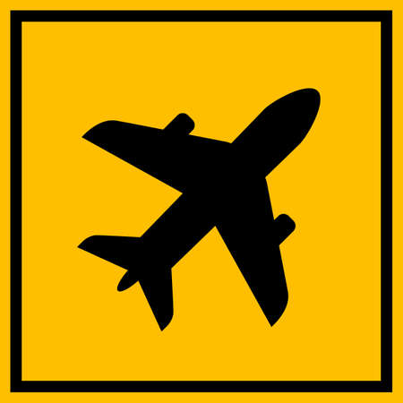 Airdrome vector sign isolated on a yellow background