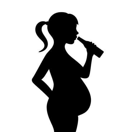 Pregnant girl drinking alcohol vector icon