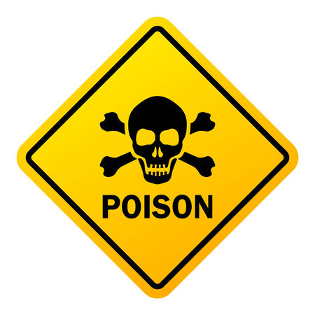Poison danger warning sign isolated on a white background Çizim