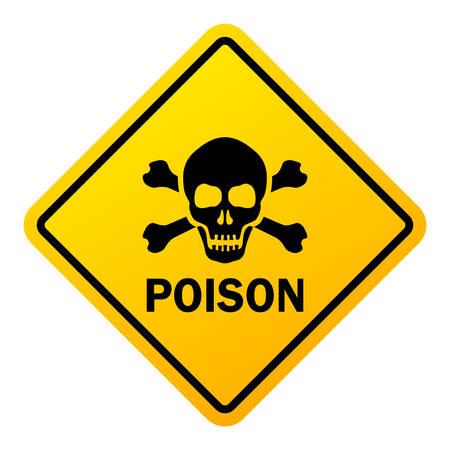 Señal de advertencia de peligro de veneno aislado sobre un fondo blanco. Ilustración de vector