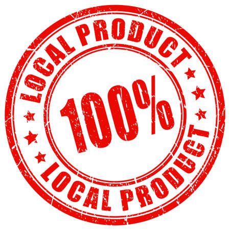 Local product guarantee stamp isolated on a white background