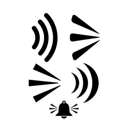 Sound wave vector icon set