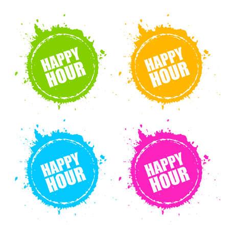 Icono de mancha redonda de happy hour Ilustración de vector