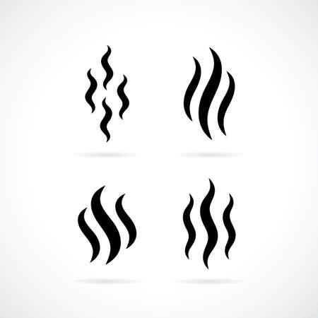 Hot smoke vector icon Illustration