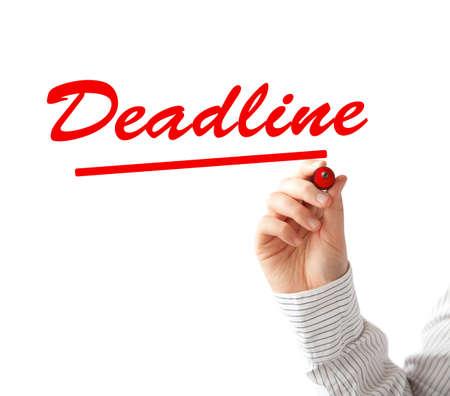 Hand writing Deadline text Stock Photo