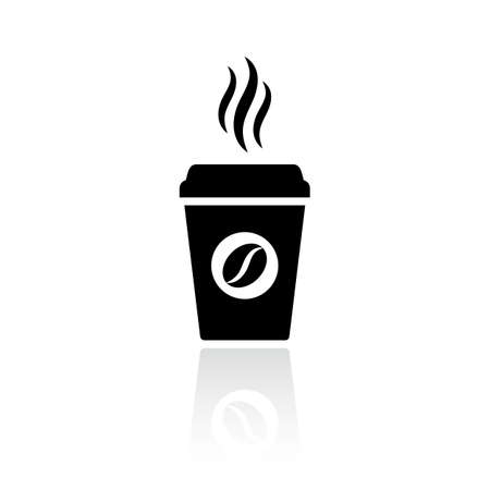 Hot coffee cup vector icon