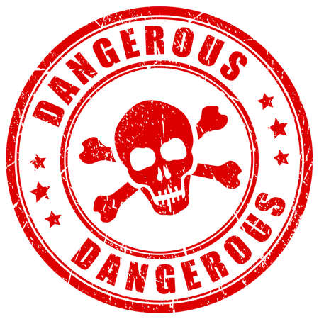 Dangerous substances red vector stamp