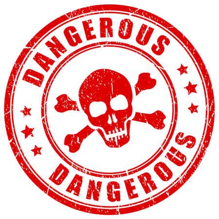 Sello de vector rojo de sustancias peligrosas