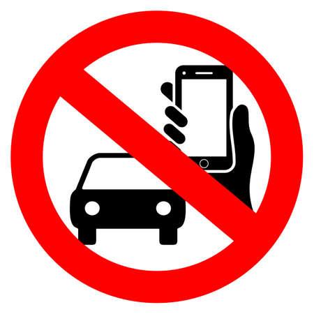 Geen autorijden en telefoon met vectorteken