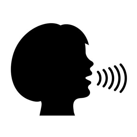 Speaking woman and sound waves vector icon