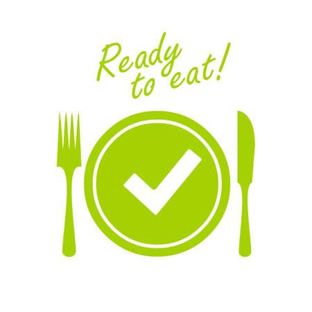 Mahlzeit bereit, Vektorikone zu essen Standard-Bild - 103516804