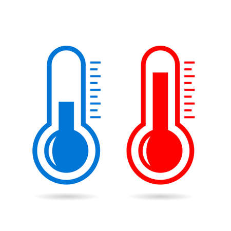 Cold and hot thermometer vector icon
