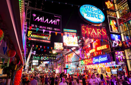 PATTAYA, THAILAND - 23 April 2018: Walking Street – main touristic road with night clubs and go-go bars