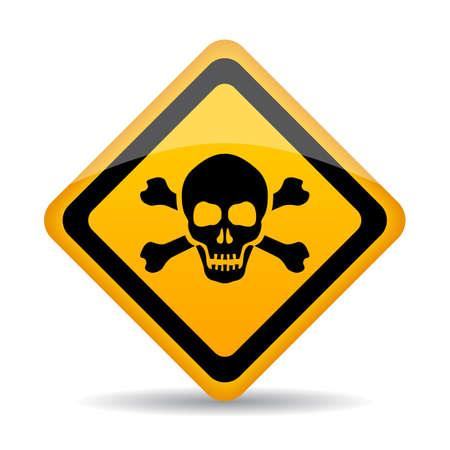 Signo de vector de peligro de cráneo