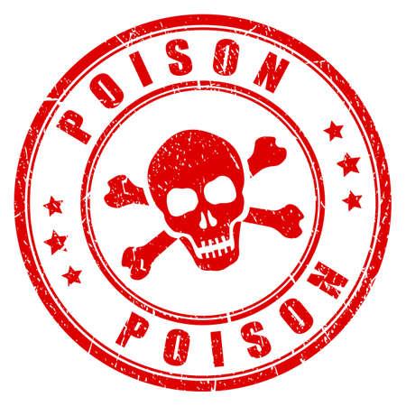 Red poison danger stamp Illustration