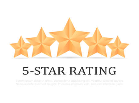 Five gold star rating vector icon